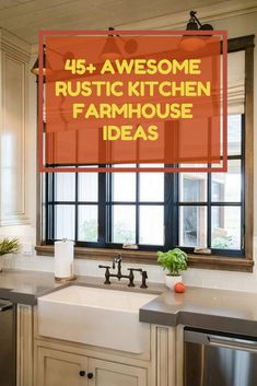 45+ Awesome Rustic Kitchen Farmhouse Ideas You Have To Know #farmhousekitchenideas Glass Kitchen, Wooden Kitchen, Vintage Kitchen, Rustic Kitchen Design, Kitchen Cabinet Design, Semarang, Wooden Barn Doors, Cottage Kitchen Cabinets, Beautiful Kitchens