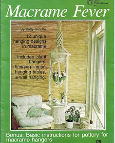 12 unique hanging designs in macrame including plant hangers, hanging lamps, hanging tables, and a wall hanging. There is also a bonus sections with basic instructions for pottery for macrame hangers. Windsong shown on the front cover is 7 9 long and has wind chimes, fringe, plant cradle, and crystal clear glass table. Safari is also 7 9 long and has a lighted hanging table 20 x 29. The plant hangers are all different lengths and cord thicknesses.  Condition: New Designed by Patty Schulte…