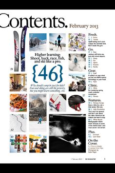 Ski Magazine contents page   Media as art   print (book, magazine, newspaper) + typography + editorial + layout + design  