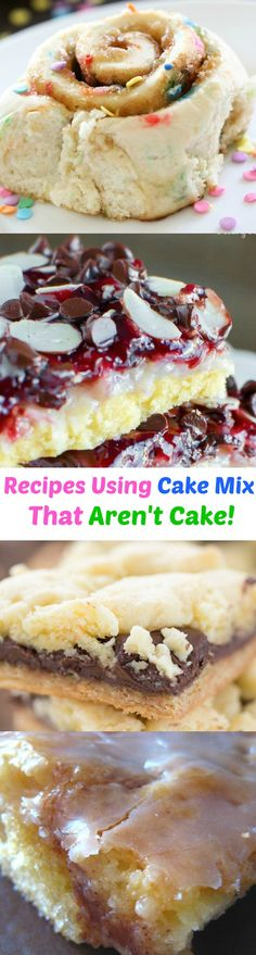Recipes Using Cake Mix That Aren't Cake! Cake Mix Desserts, Cake Mix Cookies, Easy Desserts, Delicious Desserts, Yummy Food, Cake Mix Brownies, Cake Mix Bars, Cake Mix Muffins, Sandwich Cookies
