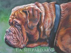 """A Dogue de Bordeaux dog art portrait print of an LA Shepard painting 12x16"""". Here's a wonderful tribute to your best friend and favorite breed- the Dogue de Bordeaux! from an original painting by L.A.Shepard, whose unique, beautiful work has been collected around the world. Your print will be individually signed under the image by the artist, and initialed on the image. Copyright text is for display purposes only and will not appear on your artwork. The image is 12x16 inches and is…"""
