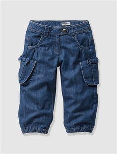 Girl's Cropped Denim Combat Trousers BLUE DARK WASCHED - vertbaudet enfant