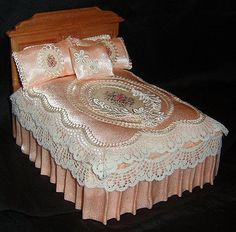 amazing miniature vintage bed ensemble - satin, lace, and embroidery. For the classic retro dollhouse.