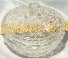 Vintage Avon Round Clear Glass Candy Dish with Lid #Avon #Traditional