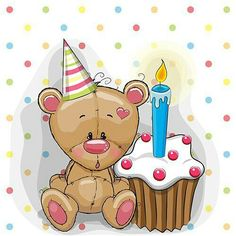 Bear with cake. Greeting card cute Teddy Bear with cake vector illustration Birthday Messages, Birthday Images, Birthday Greetings, Birthday Wishes, Birthday Cards, Happy Birthday, Blue Nose Friends, Baby Clip Art, Cute Teddy Bears