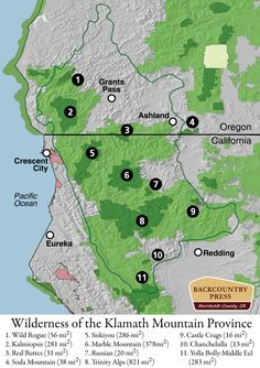 The eleven wilderness areas within the Klamath Mountain Province Pacific Ocean, Pacific Northwest, Oceans 9, Grants Pass, Humboldt County, Crescent City, Northern California, Wilderness, National Parks