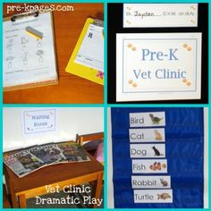 Dramatic play veterinarian's office via www.pre-kpages.com/dramatic-play-vets-office/