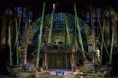 The Elizabethan Stage set by designer Michael Ganio and lighted by Mary Louise Geiger, with video projections by Alexander V. Nichols serves for all three productions outside this season.