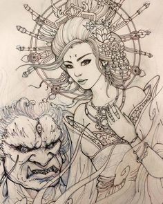 Tomorrow's project. #geisha #demon #illustration #drawing #chronicink #asiantattoo #asianink #irezumi #sketch