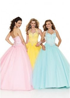 Discount Evening Dress for Prom Designer Style. A-line/Halter top/Satin/Sleeveless/Lace up/Full Length