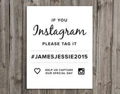 Instagram Wedding Hashtag Sign  Printable by RockPaperUnicornCo