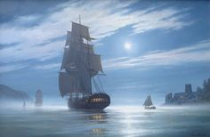 Roger Desoutter RSMA - Moonlight Departure - The Frigate Aimable passing the old castle at the entrance to Dartmouth.
