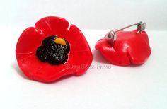 Polymer clay poppy brooch by buzybeez1 on Etsy, £2.50