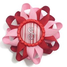 """New to CupcakesClipShop on Etsy: Initial Personalized Valentine's 3"""" Hair Bow - 3 inch Pink Red Valentine's Day Hair Bow - Hair Bow Barrette - French Clip - Made To Order (5.00 USD)"""