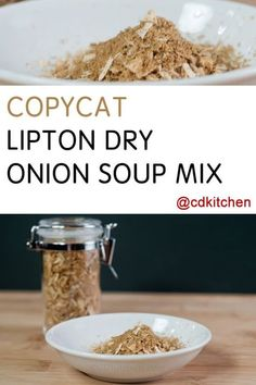 Copycat Lipton Dry Onion Soup Mix Recipe CDKitchen com is part of Onion soup mix recipe - Make your own onion soup mix and keep it on hand with this simple recipe made with dehydrated onion flakes, beef bouillon granules, and onion powder Homemade Onion Soup Mix, Homemade Dry Mixes, Homemade Spice Blends, Homemade Spices, Homemade Seasonings, Dry Soup Mix, Soup Mixes, Spice Mixes, Lipton Onion Soup Mix