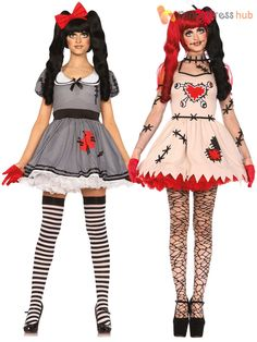 2d10b42dd04 Ladies Leg Avenue Sexy Broken Doll Voodoo Costume Womens Halloween Fancy  Dress