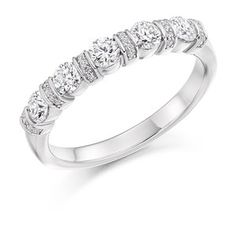 An elaborate five stone diamond ring alternating with diamond mounted settings. This can be made in platinum, palladium, yellow gold, rose gold and white gold. Eternity Ring Diamond, Diamond Wedding Rings, Eternity Rings, Wedding Rings Vintage, Vintage Rings, Wedding Ring Designs, Vintage Diamond, Diamond Cuts, Fine Jewelry