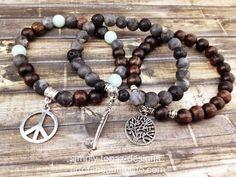 Boho Jewelry for the Free, earthy, bohemian spirits  | Boho Beaded Stretch Bracelet Set  Yoga Bracelet  by Simply Topaz