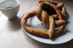Soft pretzels with honey-mustard dipping sauce adapted from Martha Stewart via Sigmund Pretzelshop NYC