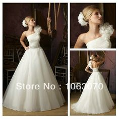 Ball Gown No Train Ivory Organza 2013 One Shoulder Grecian Style Wedding Dresses(China (Mainland))