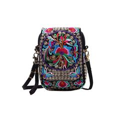 Buy Women Embroidered Bag Cellphone Wallet Crossbody Bag Mini Shoulder Bag - Multicolor - and More Fashion Bags at Affordable Prices. Boho Hippie, Bohemian, Canvas Crossbody Bag, Mini Crossbody Bag, Small Coin Purse, Embroidery Bags, Vintage Embroidery, Bags Online Shopping, Boho Bags