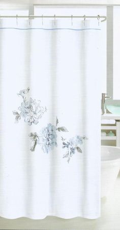Details About NICOLE MILLER EMBROIDERED LARGE FLORAL BLUE GREY WHITE FABRIC SHOWER  CURTAIN