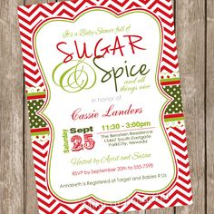 sugar and spice christmas baby shower by modernbeautiful on etsy 1300 baby shower invites for - Christmas Themed Baby Shower