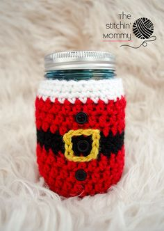 PDF Crochet Pattern Little Santa Mason Jar Cozy