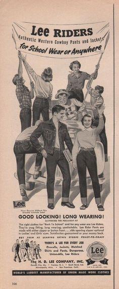 B&W Illustration (western cowboy) original 1951 Life Magazine Art Vintage Jeans, Vintage Outfits, Vintage Fashion, Men's Vintage, Levis, Vintage Western Wear, Lee Jeans, Lee Denim, Life Magazine