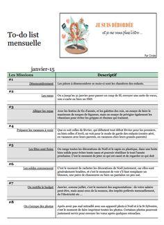 To-do list de Janvier 2015 - Blog Je Suis Débordée Journal Organization, Home Organization, Flylady, Bujo, Filofax, Getting Organized, Printables, How To Plan, Check Lists