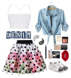 """""""Denim"""" by caroline-janet-fern-cheney ❤ liked on Polyvore featuring adidas Originals, Lime Crime, Christian Dior, NARS Cosmetics, Sydney Evan, Jouer and Theory"""