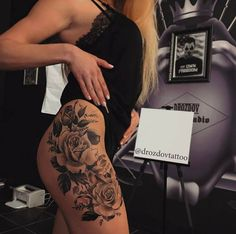 So Hot and Gorgeous Rose Tattoos on Thigh