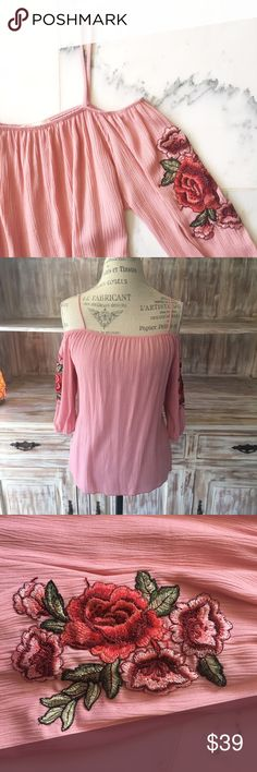 """•new• NWOT """"Wildflower"""" floral embroidered top Pink cold-shoulder top with floral embroidery on the sleeves. Cinched sleeves. Boutique Tops Blouses"""