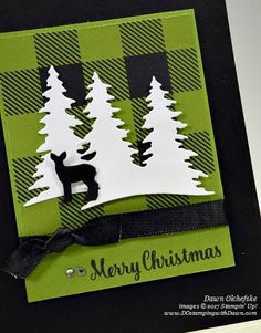 Stampin' Up! Card Front Builder Thinlits shared by Dawn Olchefske Christmas Cards 2017, Homemade Christmas Cards, Stampin Up Christmas, Merry Little Christmas, Christmas Carol, Xmas Cards, Handmade Christmas, Homemade Cards, Holiday Cards