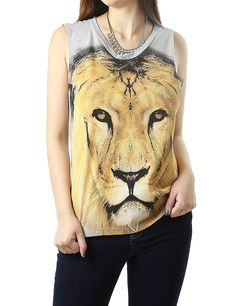 Lion Animal Printed Stylish Tunic Style Fashion Muscle Tee Top for Women (MEDIUM, GRAY-T14862)