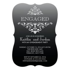 Announce your engagement to family and friends with our beautiful engagement party invitation.  Our stylish & chic engaged invitation features a fancy vintage white damask leaf flourish set on a modern ombre black background.  Available in our shop in a large selection of hot & trendy colors.  Custom orders are always welcomed!  Easy to personalize with your engagement party information.