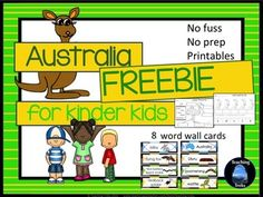 Fun Aussie activities! Australia for Kinder Kids FREEBIE - Label the Emu, Count Roos by 2s and 8 Aussie Word Wall cards!