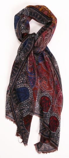 Red and blue paisley scarf Paisley Scarves, Poncho, Scarf Hat, Mode Inspiration, Scarf Styles, Fashion Accessories, Cute Outfits, Stylish, My Style