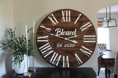 """""""Blessed"""" farmhouse wall clock. 42"""" diameter, free shipping Big Wall Clocks, White Clocks, Wooden Clock, Wooden Walls, Walnut Wood, Dark Walnut, Last Name Decor, Personalized Clocks, Handmade Clocks"""