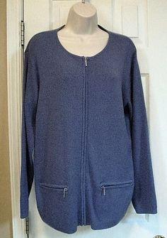 Chico's Design Women Zip Cardigan Tunic Solid Light Blue 1 S 8 Long Sleeve #Chicos #Cardigan