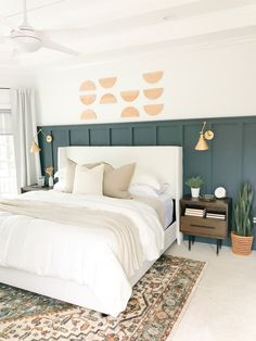 We will grab a few sample colors of Valspar Signature Ultra before making a final decision but I'm really loving the idea of Slate Court. Room Ideas Bedroom, Home Decor Bedroom, Wall Behind Bed, Master Bedroom Makeover, New Room, Room Inspiration, Interior Design, Board Art, Half Circle