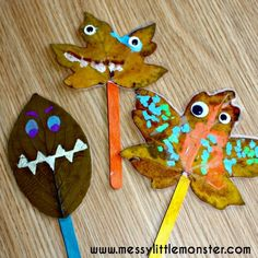 Leaf Puppets Leaf monster puppet craft for toddlers and preschoolers using autumn/ fall leaves. Inspired by the book 'Leaf Man' by Lois Ehlert. Autumn Art Ideas For Kids, Fall Crafts For Toddlers, Toddler Crafts, Preschool Crafts, Autumn Eyfs Activities, Forest School Activities, Nursery Activities, Autumn Leaves Craft, Fall Leaves