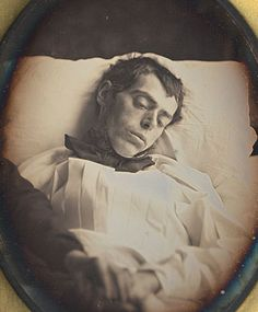 ca. 1845-50, [daguerreotype portrait of a gentleman either deceased or closely approaching death with a hand upon his lap], attributed to Jean Victor via Christopher Wahren Fine Photographs