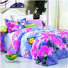 High Quality Bedclothes 3D BUTTERFLY FLOWERS 4PCS Bedding Set king/Queen 1 PC Bed sheet/1PC Comforter Cover/2 PCS Pillow Covers(China (Mainland))