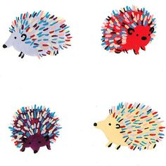 Happy Hedgehogs print by Los Angeles based artist Cactus Club Print of an original gouache painting. 11 x 14 in.
