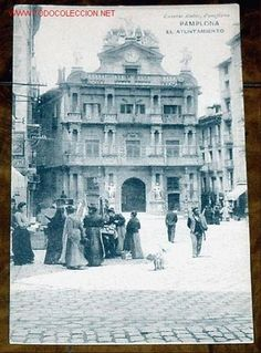 ANTIGUA POSTAL DE PAMPLONA - EL LAYUNTAMIENTO - EUSEBIO RUBIO - HAUSER Y MENET (Postales - España - Navarra Antigua (hasta 1.939))