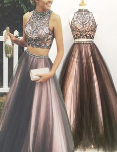 Gray a Line Prom Gown