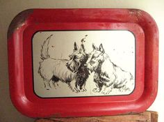 Charming 1940's Scottie Dog Serving Tray