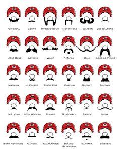 Funny moustache mustache styles for Mario Super Mario Bros, Super Mario Brothers, Ryu Street Fighter, Moustaches, Famous Mustaches, Moustache Party, Movember Mustache, Mustache Styles, Mario Bros.