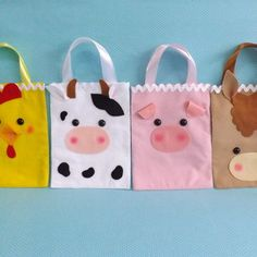 Farm Animal Birthday, Baby Birthday, Sewing Stuffed Animals, Animal Bag, Diy Bags Purses, Felt Purse, Felt Quiet Books, Felt Baby, Kids Party Games